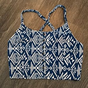 Mine Crop Top Blue and White Tribal